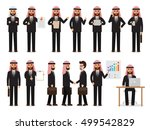 set of arab working people on... | Shutterstock .eps vector #499542829