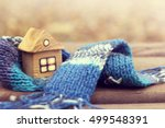 small wooden house in a warm... | Shutterstock . vector #499548391
