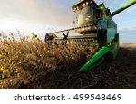 harvesting of soybean field...   Shutterstock . vector #499548469