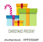 ppile of colorful wrapped gift...   Shutterstock .eps vector #499550689