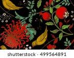 vintage japanese chrysanthemum... | Shutterstock .eps vector #499564891