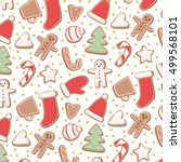 cute pattern with different... | Shutterstock .eps vector #499568101