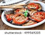 delicious vegetarian pizza... | Shutterstock . vector #499569205