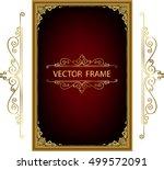 gold photo frame with corner... | Shutterstock .eps vector #499572091