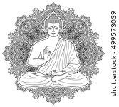 sitting buddha in lotus...   Shutterstock .eps vector #499573039