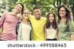 diverse group young people... | Shutterstock . vector #499588465