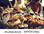 children eating turkey... | Shutterstock . vector #499591981