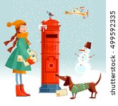 Little Girl  And Dachshund At...