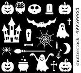 white halloween icons set.... | Shutterstock . vector #499599931