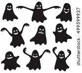 set of black halloween ghosts...   Shutterstock . vector #499599937