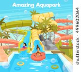 aquapark poster template with... | Shutterstock .eps vector #499602064