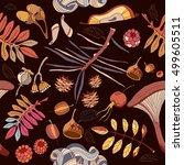 autumn seamless pattern autumn...   Shutterstock .eps vector #499605511