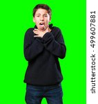 Small photo of little boy overwhelmed on white