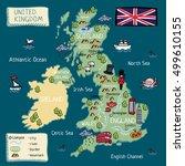 cartoon map of united kingdom   Shutterstock .eps vector #499610155