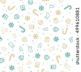 christmas background. flat... | Shutterstock .eps vector #499610881