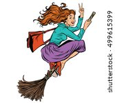 beautiful woman witch flying on ... | Shutterstock .eps vector #499615399