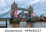 opened tower bridge in london... | Shutterstock . vector #499630117