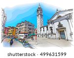 venice   calle fondamenta megio.... | Shutterstock . vector #499631599