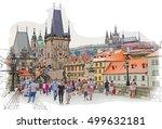 charles bridge   prague  czech... | Shutterstock . vector #499632181