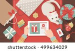 woman purchasing christmas... | Shutterstock .eps vector #499634029