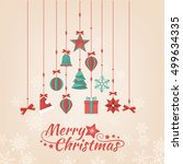 hand crafted paper christmas... | Shutterstock .eps vector #499634335