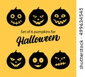halloween pumpkin 6 icons set.... | Shutterstock .eps vector #499634545