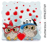 two cute owls with heart on a... | Shutterstock .eps vector #499635769