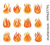 fire icons. vector fire flame... | Shutterstock .eps vector #499637791