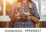 woman hand with retro analog... | Shutterstock . vector #499640617