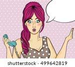 pop art  woman . comic woman... | Shutterstock .eps vector #499642819