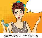 pop art  woman . comic woman...   Shutterstock .eps vector #499642825