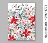 poinsettia wedding invitation...   Shutterstock .eps vector #499644724