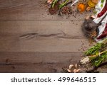 various herbs and spices on... | Shutterstock . vector #499646515