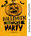 hand drawn halloween boo poster ... | Shutterstock .eps vector #499652599