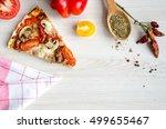 slice of hot meat italian pizza ... | Shutterstock . vector #499655467