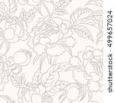 peony seamless pattern. floral... | Shutterstock .eps vector #499657024