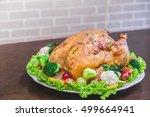 roasted turkey stuffing... | Shutterstock . vector #499664941