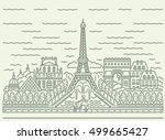 paris city skyline view with... | Shutterstock .eps vector #499665427