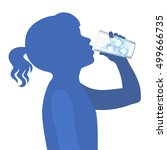 little girl drink water.... | Shutterstock .eps vector #499666735