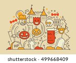 halloween party colored line... | Shutterstock . vector #499668409