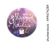 swirled happy holidays text on... | Shutterstock .eps vector #499674289