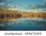 clouds reflection in lake at...   Shutterstock . vector #499675459