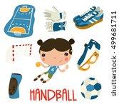 handball kid cute set. handball ...   Shutterstock .eps vector #499681711