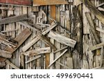 wall recycled from scrap wood... | Shutterstock . vector #499690441
