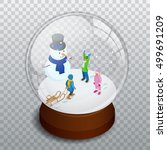 merry christmas glass ball with ... | Shutterstock .eps vector #499691209