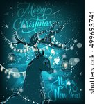 magic christmas deer | Shutterstock .eps vector #499693741