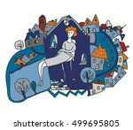 woman alone in the city  ... | Shutterstock .eps vector #499695805