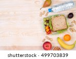 lunchbox with sandwich  fruits  ... | Shutterstock . vector #499703839