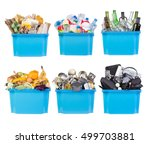 recycling bins with paper ...   Shutterstock . vector #499703881