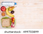 lunchbox with sandwich  fruits  ... | Shutterstock . vector #499703899